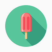 Popsicle Flat Design BBQ Icon with Side Shadow