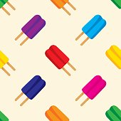 Vector illustration of popsicles in a repeating pattern.
