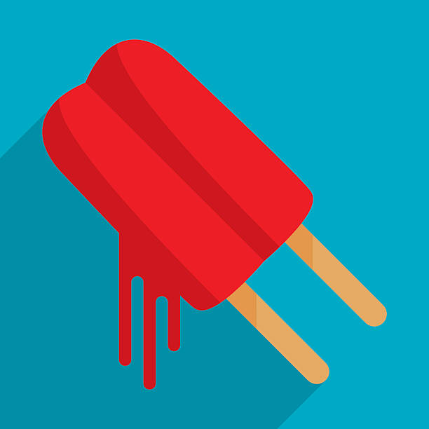 Popsicle Vector illustration of a dripping red popsicle in flat style. melting stock illustrations