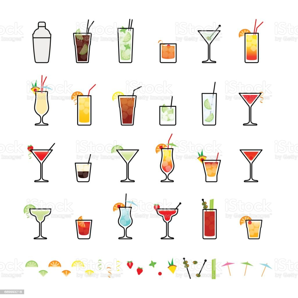 Popular alcoholic cocktails and cocktail decorations vector art illustration