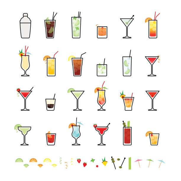 Popular alcoholic cocktails and cocktail decorations Popular alcoholic cocktails and cocktail decorations, icons set in flat style on white background screwdriver drink stock illustrations