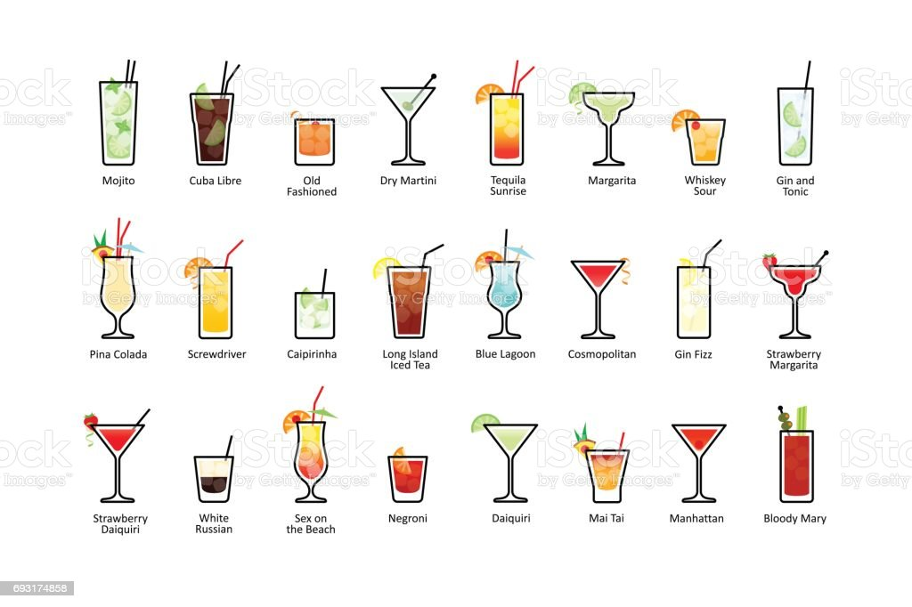 Popular alcoholic cocktails with titles, icons set in flat style vector art illustration