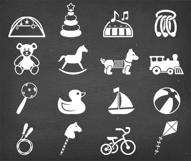 bildbanksillustrationer, clip art samt tecknat material och ikoner med populära baby leksaker royalty gratis vector ikonuppsättning - wheel black background