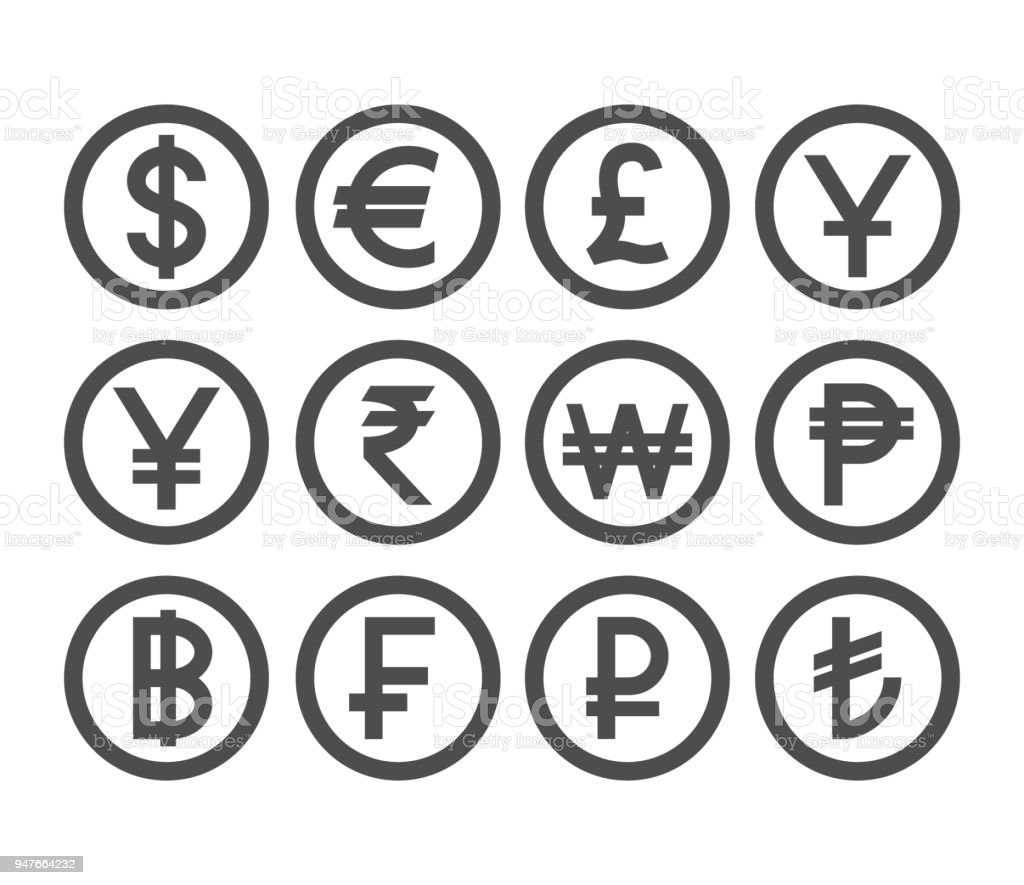 Popular currency coin collection. Countries currencies coins icon set. vector art illustration