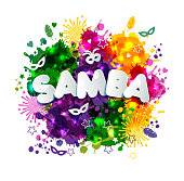 Popular Event in Brazil. Carnival Title With Colorful Party Elements.