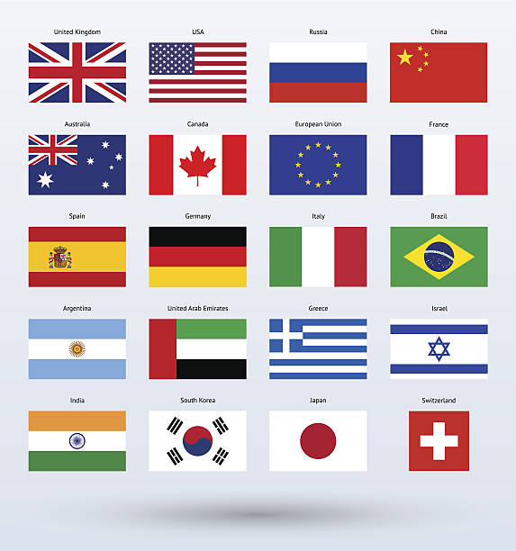 popular flags collection - union jack flag stock illustrations, clip art, cartoons, & icons