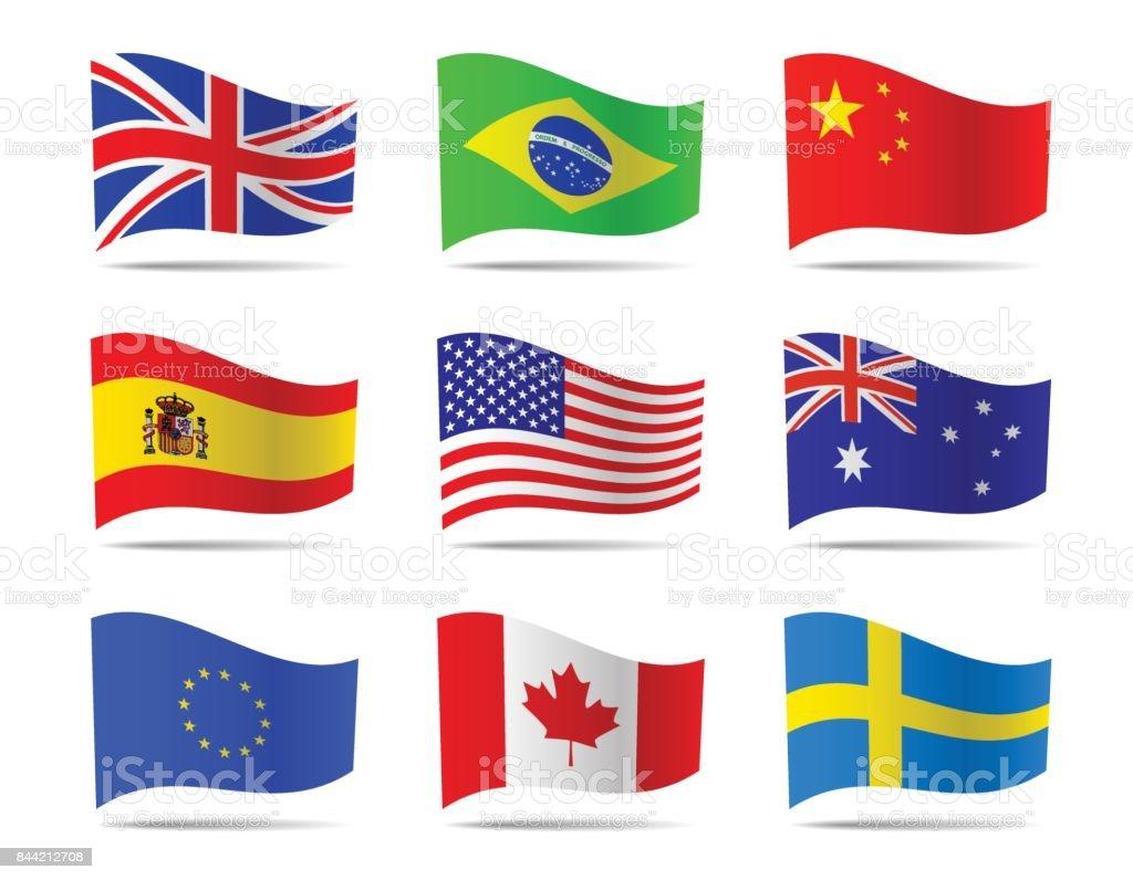 Colección de vectores de banderas populares. - ilustración de arte vectorial