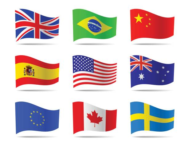 Popular flags vector collection. vector art illustration