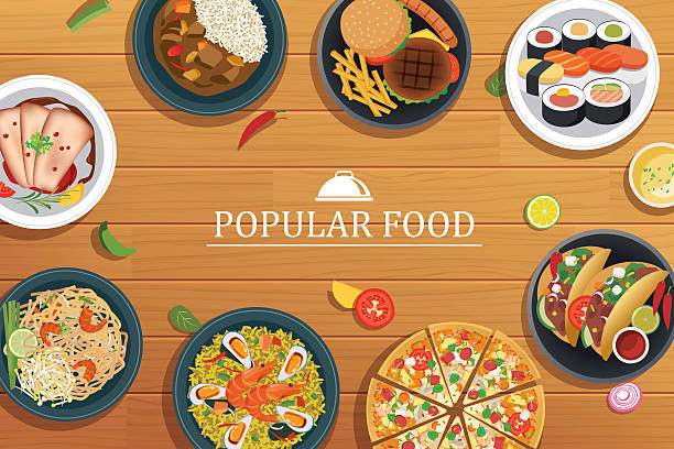 popular food on a wooden background.vector popular food top - カレー点のイラスト素材/クリップアート素材/マンガ素材/アイコン素材