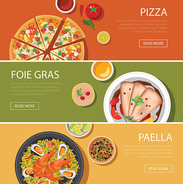 stockillustraties, clipart, cartoons en iconen met popular food web banner flat design, pizza, foie gras, paella - paella