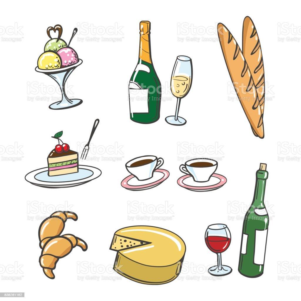 Beliebte Französische Speisen Und Getränke Stock Vektor Art und mehr ...