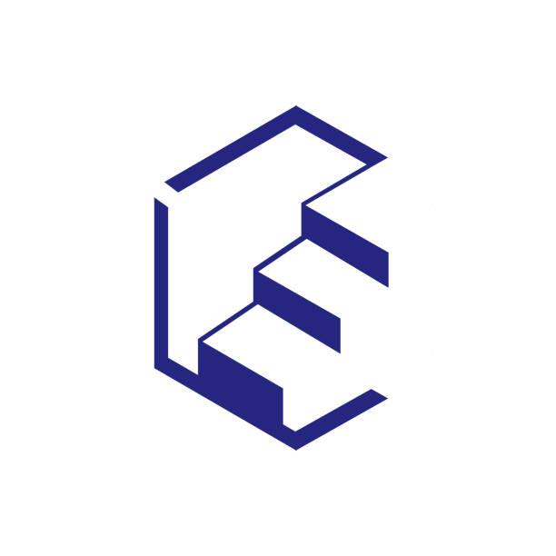 beliebte geometrische sechseckige treppe logo design element vektor vorlage - treppe stock-grafiken, -clipart, -cartoons und -symbole