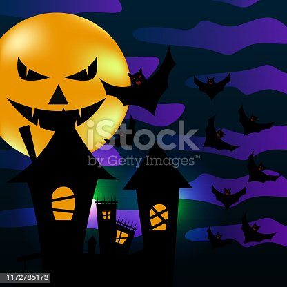 istock Popular halloween greeting design with creepy city town, bat, and moon. Haunted theme vector illustration eps 10. 1172785173
