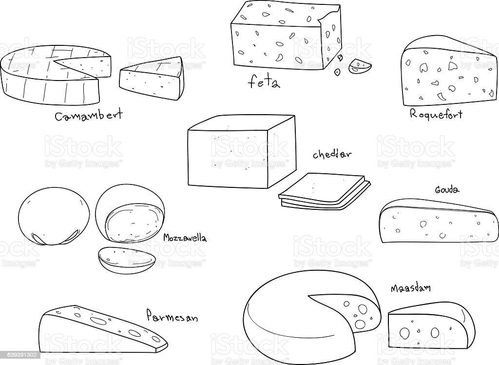 popular kind of cheese vector set hand drawn line art vector art illustration