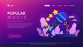 Famous pop singer near huge microphone singing and tiny people dancing at concert. Popular music, pop music industry, top chart artist concept. Website homepage landing web page template.
