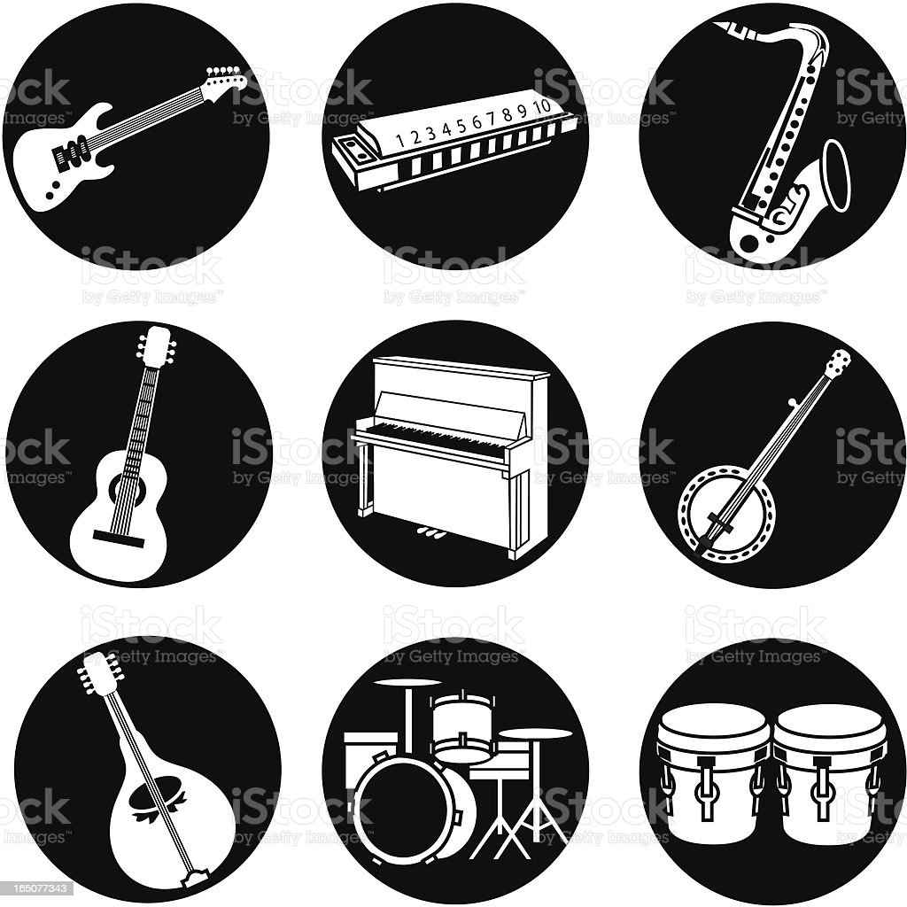 popular music icons reversed royalty-free stock vector art