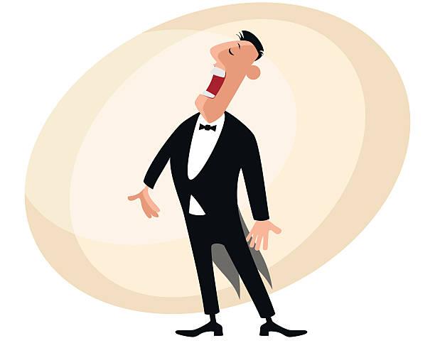 stockillustraties, clipart, cartoons en iconen met popular opera singer - tenor