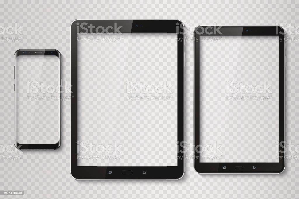 Popular top model of modern frameless smartphone and tablet. Tec