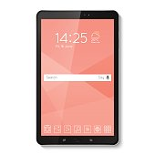 Popular top model of modern tablet. Technological template with