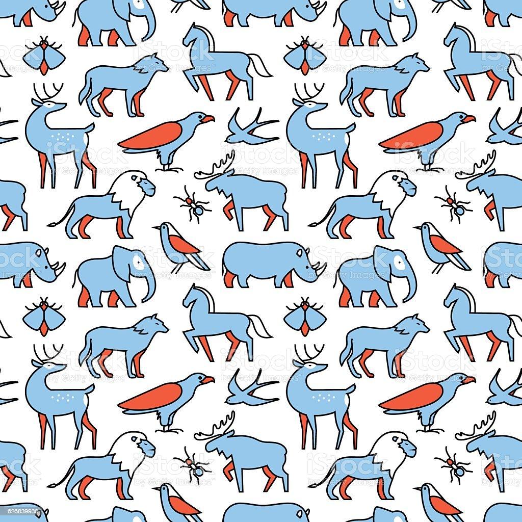 Popular wild life animals icons vector art illustration
