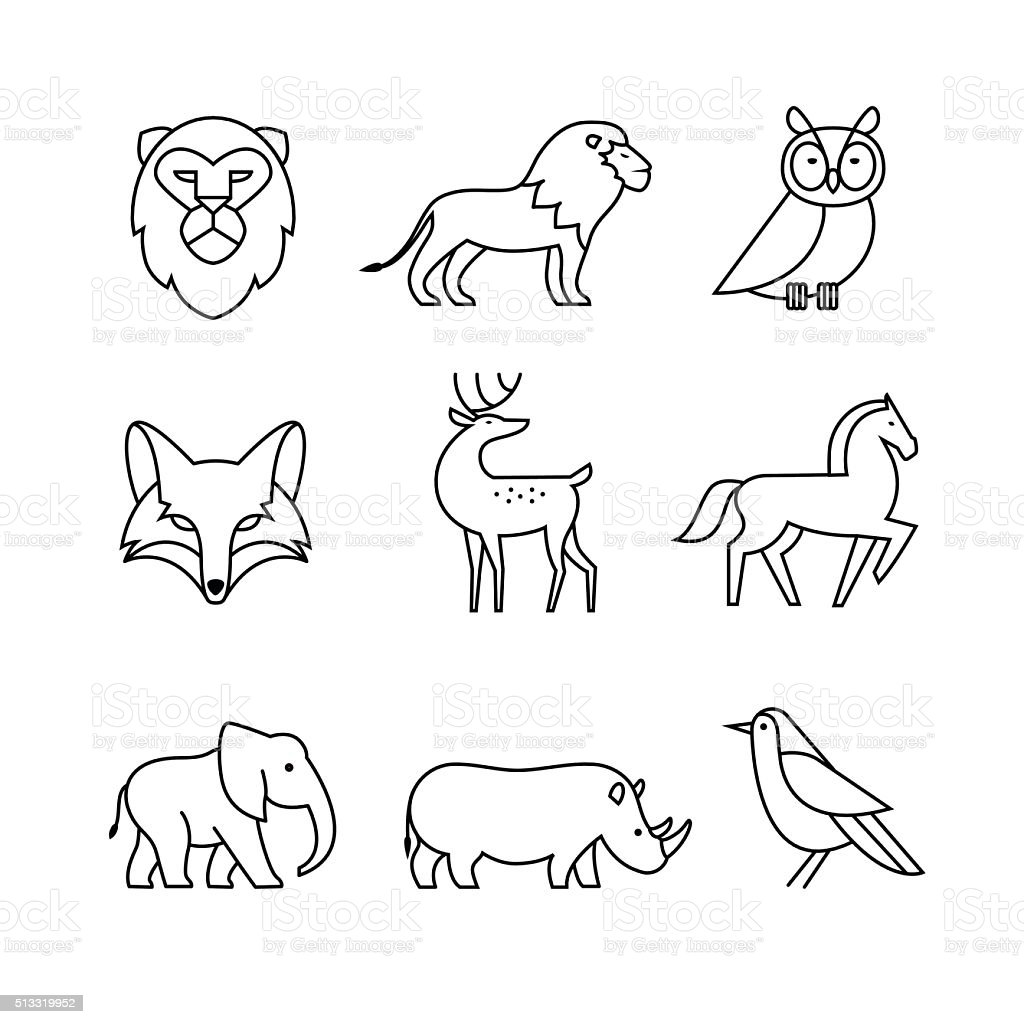 Line Art Animals Drawings : Popular wild life animals thin line art icons set stock
