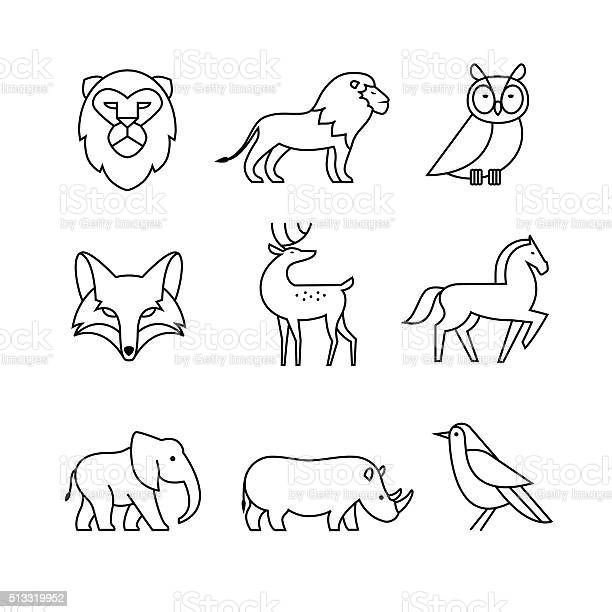 Popular wild life animals thin line art icons set vector id513319952?b=1&k=6&m=513319952&s=612x612&h=bvfou2uiwudbyetg1vktjni2mcurs8sk1xl7z5qa8ku=