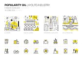 Popularity modern layouts global industry in new flat line style with gas station electrical, computers technology and loading systems' development. Infographics strategy program. Pictogram for design.