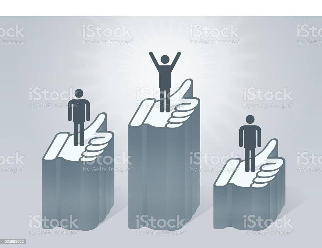 Popularity Stands Like Thumbs Up Social Media vector art illustration