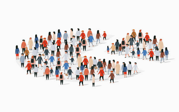 ilustraciones, imágenes clip art, dibujos animados e iconos de stock de informe demográfico demográfico, gráfico circular compuesto por personas. - infografías demográficas