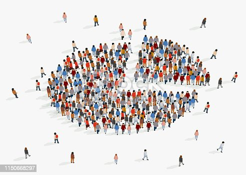 istock Population demographics report, pie chart composed of people. 1150668297