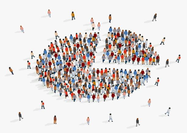 raport demograficzny populacji, wykres kołowy składający się z ludzi. - część stock illustrations