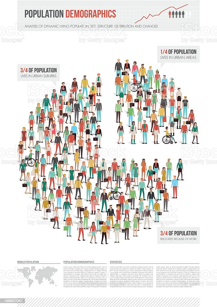 Population demographics report vector art illustration