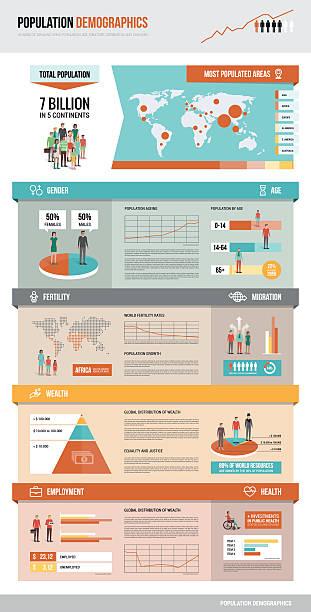 ilustraciones, imágenes clip art, dibujos animados e iconos de stock de datos demográficos de la población - infografías demográficas