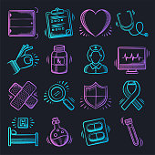 Population health management neon doodle style outline symbols on dark background. Vector icons set for infographics, mobile or web page designs.