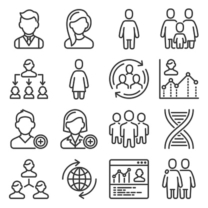 Population People Icons Set on White Background. Vector illustration