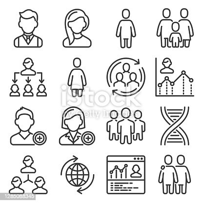 Population People Icons Set on White Background. Vector illustration