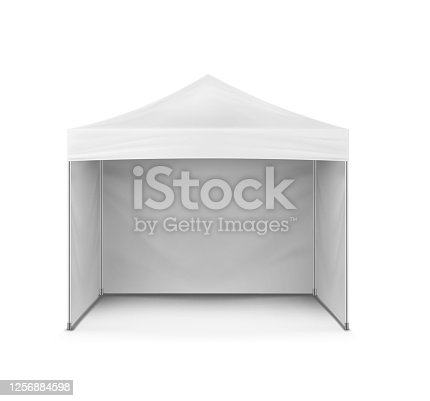 Pop-up canopy tent, vector mockup. Exhibition outdoor show pavilion, mock-up. White event marquee, template for design.