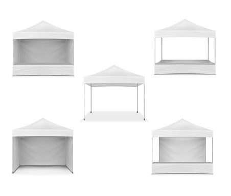 Pop-up gazebo, realistic mockup. White blank canopy tent, mock-up. Event marquee, template. Exhibition outdoor show pavilion. Vector set for design