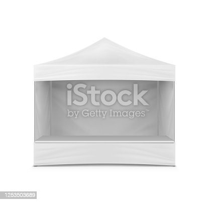 Pop-up gazebo, realistic vector mockup. White blank sidewall instant canopy, mock-up. Market stall, template for design.