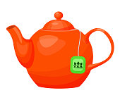 Porcelain, ceramic teapot. Utensils for making, brewing tea, with a tea bag. Kettle with lid and handle, hot drink. Vector illustration isolated.