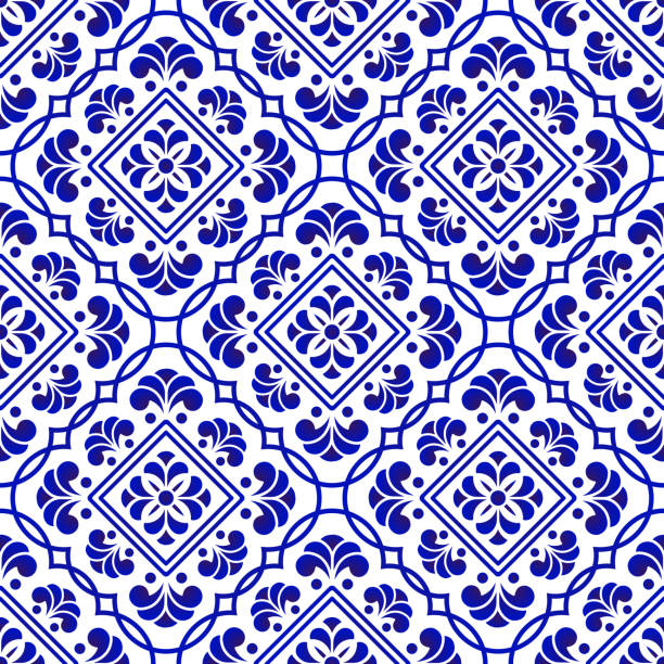 porcelanowy wzór dekoracyjny - kultura portugalska stock illustrations
