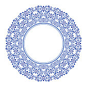 blue ornamental round, porcelain decorative art frame, Abstract vector ornament border, ceramic template design, China blue and white cycle decor vector illustration