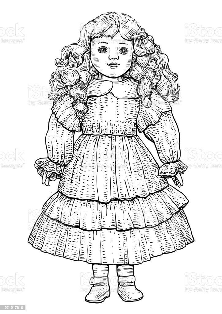 Porcelain doll illustration, drawing, engraving, ink, line art, vector - ilustração de arte vetorial