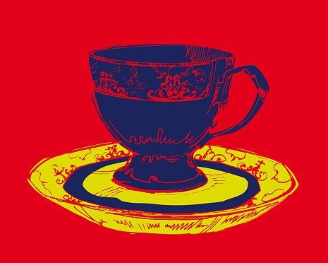 Porcelain mug. Ink drawing. Vector
