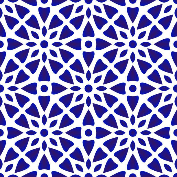 ilustrações de stock, clip art, desenhos animados e ícones de porcelain pattern - mosaicos flores