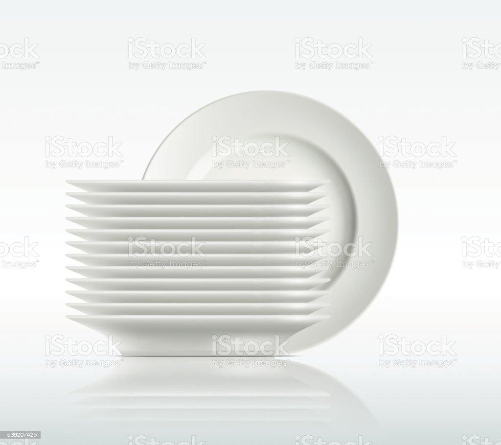 porcelain plates on a white background vector art illustration