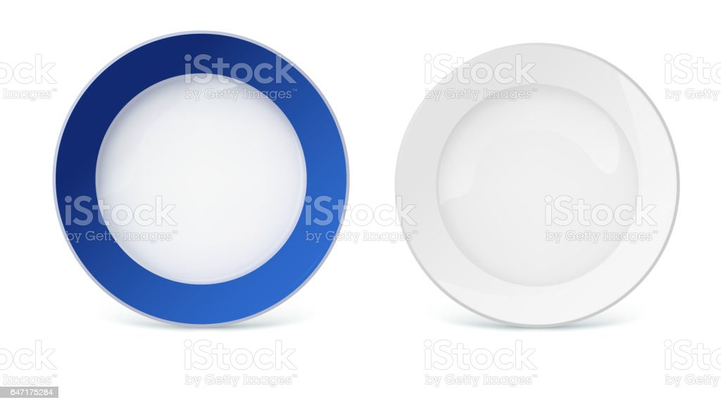 Porcelain plates with reflexes and reflections on white background, closeup vector art illustration