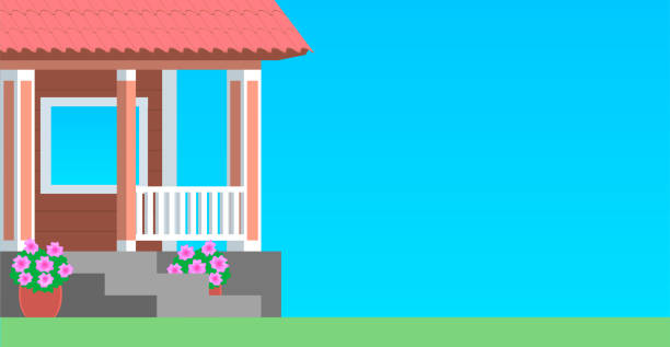 Porch of a country wooden house The cozy porch of a rustic wooden house with steps and a veranda. Blue background. Vector flat illustration. porch stock illustrations