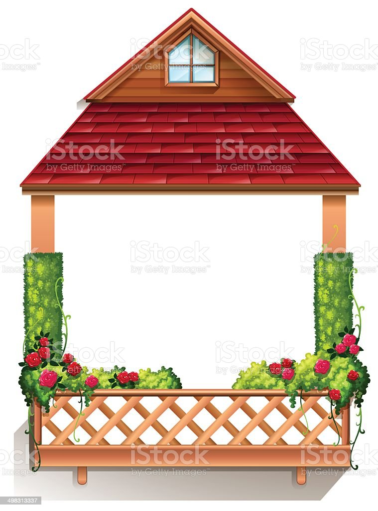 Porch with flowering plants vector art illustration
