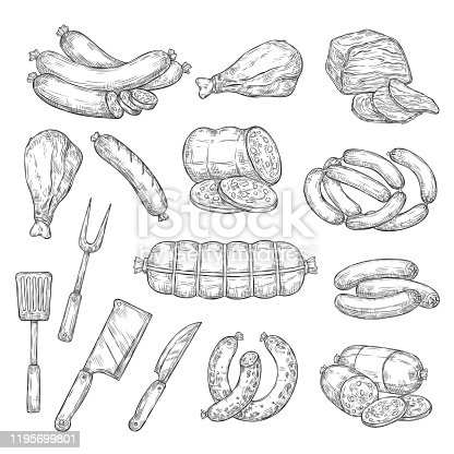 istock Pork and beef meat food, cutlery fork and knife 1195699801